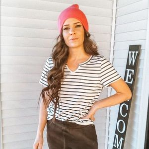 White tee shirt v neck with stripes stripes top